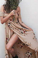 Off Shoulder  Asymmetric Hem  Floral Printed  Extra Short Sleeve Maxi Dresses