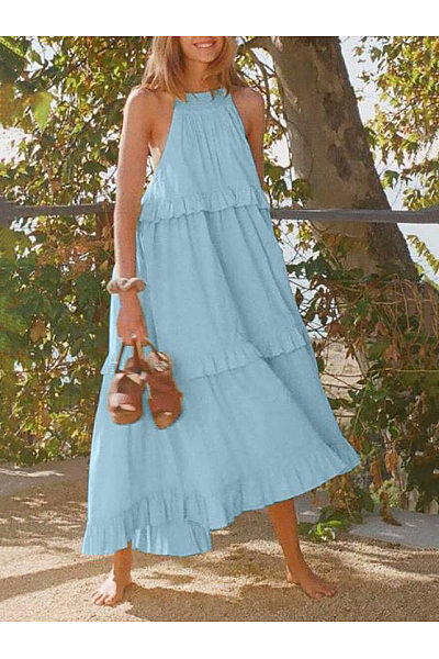 2019 Summer New Stitching Solid Color Sleeveless Casual Halter Dress