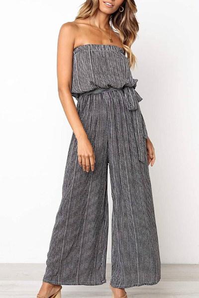 Off Shoulder  Backless  Striped  Sleeveless Jumpsuits