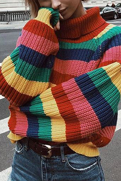 High Neck  Striped Sweaters