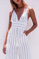V Neck  Backless Cutout  Stripes  Playsuits