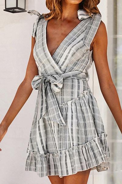 Fashion Striped Backless Strap   Mini Dress