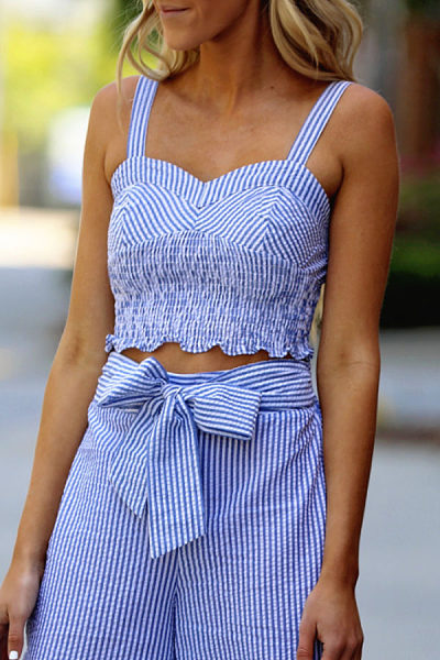 Spaghetti Strap  Belt  Striped Two-Piece Outfits