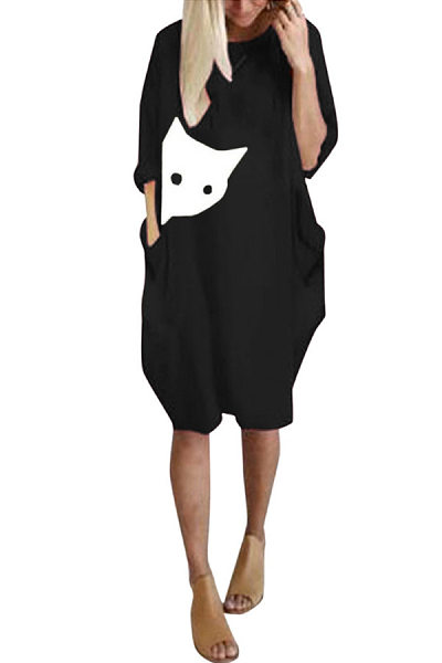 Casual Round Neck Cat Print Long Sleeve Loose Pocket Dress