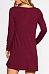 Round Neck  Plain  Long Sleeve Casual Dresses