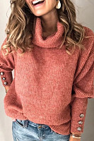 Heap Collar Decorative Buttons Plain Sweater