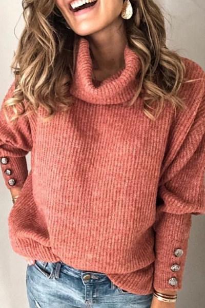 Heap Collar Decorative Buttons Plain Sweater