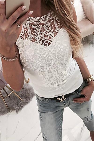 Round Neck  Decorative Lace  Plain Camis