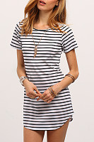 Round Neck  Striped  Short Sleeve Casual Dresses