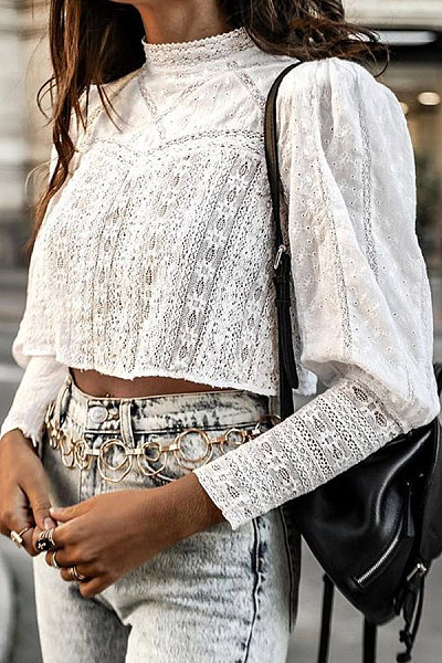 Sweet Round Neck White Lace Lantern Long Sleeve Short Blouses