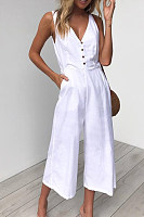 Spaghetti Strap  Decorative Buttons  Plain  Sleeveless Jumpsuits