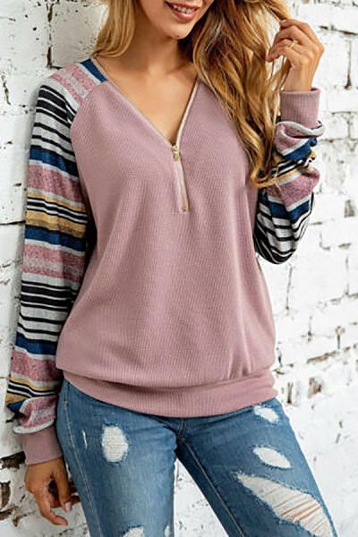 V Neck Zips Printed Sweatshirt