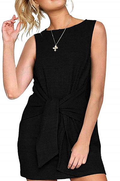 Round Neck  Lace Up  Plain  Sleeveless Casual Dresses