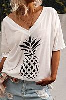 V Neck Short Sleeve Printed T-shirt
