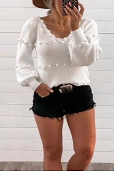 Casual Pure Color V Neck Sweater