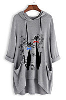 Cat Long Sleeve Casual Hoody