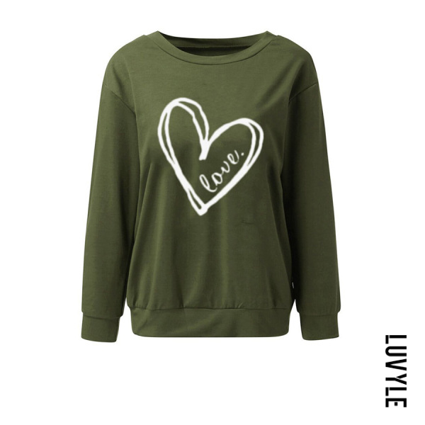 Green Single Shoulder Collar Patchwork Casual Printed Long Sleeve T-Shirt Green Single Shoulder Collar Patchwork Casual Printed Long Sleeve T-Shirt