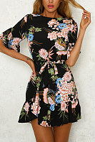 Crew Neck  Asymmetric Hem  Belt  Floral Printed  Petal Sleeve  Short Sleeve Casual Dresses
