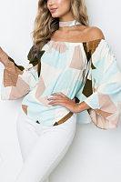 Off Shoulder  Asymmetric Hem  Color Block  Bell Sleeve  Blouses