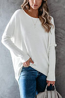 Round Neck Lonng Sleeve Plain T-shirt