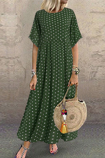 Casual Fashion Round Neck Short Sleeve Polka Dot Dresses