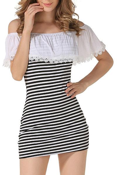 Off Shoulder Stripes Sheath Sleeveless Bodycon Dress