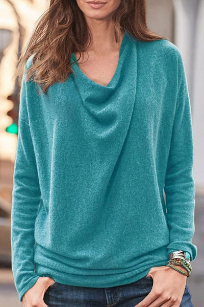 Heap Collar Long Sleeve Plain T-Shirt