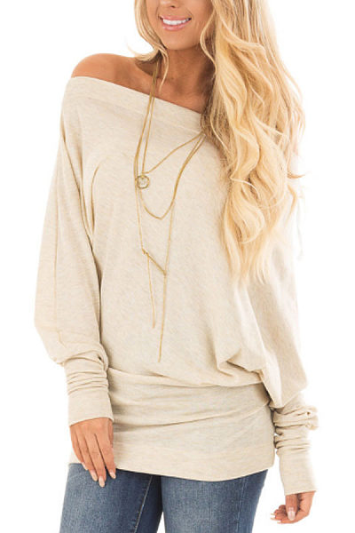 One Shoulder  Plain  Batwing Sleeve T-Shirts