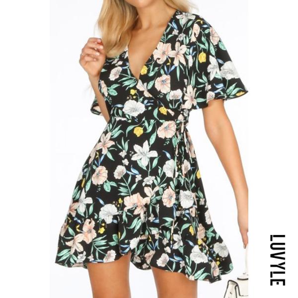 Black V Neck Floral Flounce Bell Sleeve Casual Dresses Black V Neck Floral Flounce Bell Sleeve Casual Dresses