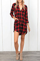 Deep V Neck  Asymmetric Hem  Gingham  Long Sleeve Casual Dresses
