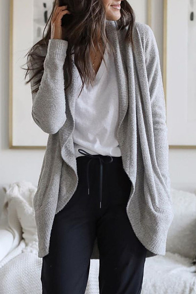 Casual Curved Hem Plain Sweater