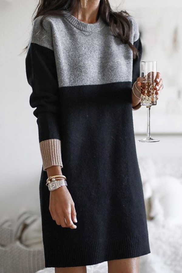 black and gray knitted dress
