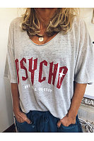 V Neck Letters Printed Casual T-Shirts