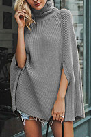 High Collar Cape Sleeve Plain Sweater
