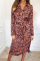 V Neck  Belt  Leopard  Long Sleeve Maxi Dresses