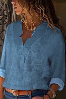 AREALOOK Sexy V Neck Cold Color Blouses