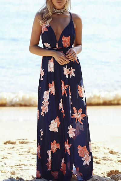 Spaghetti Strap  High Slit  Floral Printed Maxi Dresses