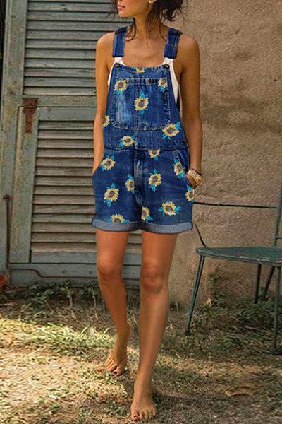 Daisy Printed Short Jeans Jumpsuit