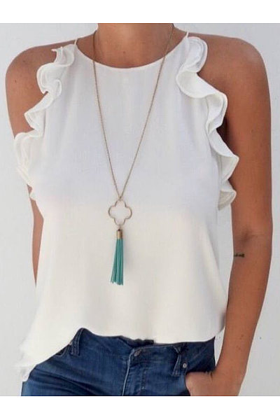 Casual Off-The-Shoulder Flounce T-Shirt