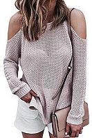Off Shoulder  Plain Loose Sweaters
