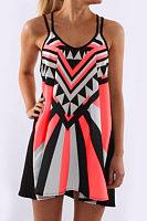 Spaghetti Strap  Color Block  Sleeveless Casual Dresses