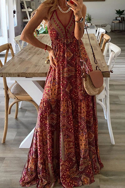 Women's Bohemian Holiday Sling Print Dress