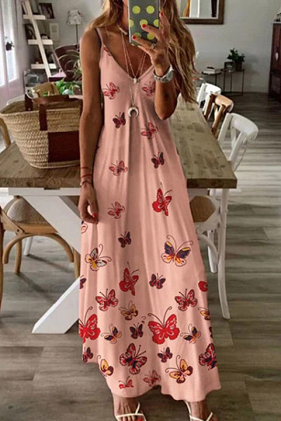 Vacation Print V-Neck Spaghetti Maxi Dresses in pink