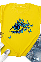 Round Neck Cartoon Print Short Sleeve T-shirt