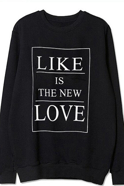 Women's round neck long sleeve letter print hoodie