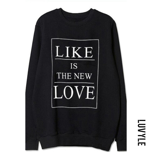 Black Women's round neck long sleeve letter print hoodie Black Women's round neck long sleeve letter print hoodie