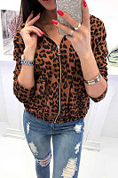 Hooded  Zipper  Leopard Printed Outerwear