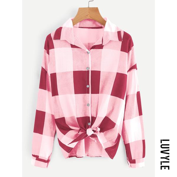 Rose Casual Loose Plaid Long Sleeve T-Shirt Rose Casual Loose Plaid Long Sleeve T-Shirt