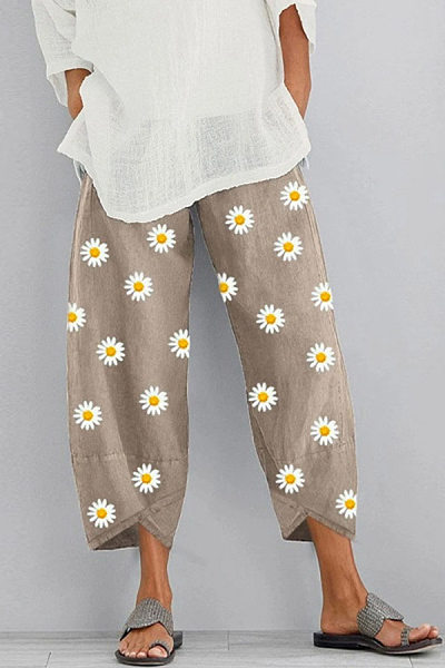 Daisy Printed Loose-Fitting Casual Pants