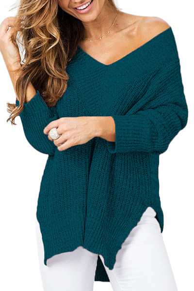 V Neck  Slit  Plain Sweaters
